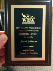 The meerkat tuberculosis research received this award in August 2016 following a presentation at the Wildlife Disease Association conference.